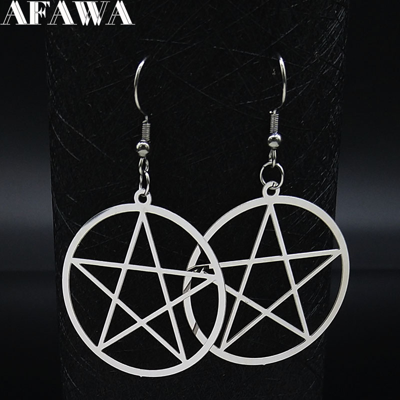 Witchcraft Pentagram Stainless Steel Drop Earrings Women Silver Color Earrings Jewelry pendientes acero inoxidable mujer E1531S2