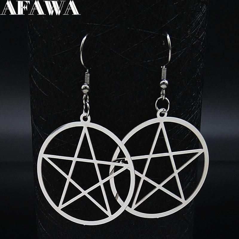Witchcraft Pentagram Stainless Steel Drop Earrings Women Silver Color Earrings Jewelry pendientes acero inoxidable mujer E1531S2
