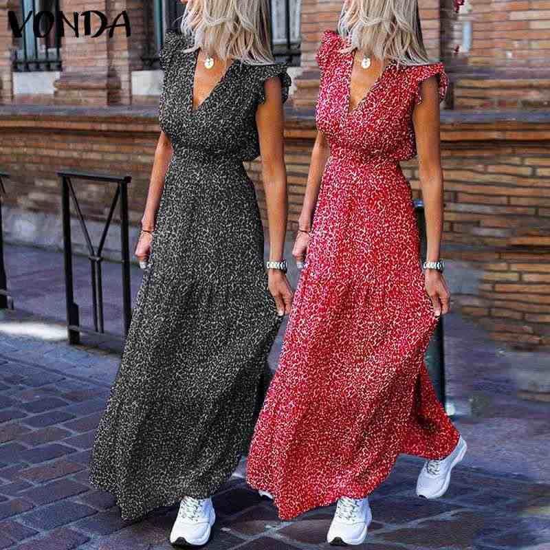 VONDA 보헤미안 여름 드레스 2020 섹시한 V 넥 민소매 빈티지 플로랄 프린트 긴 맥시 드레스 플러스 사이즈 비치 홀리데이 Vestido