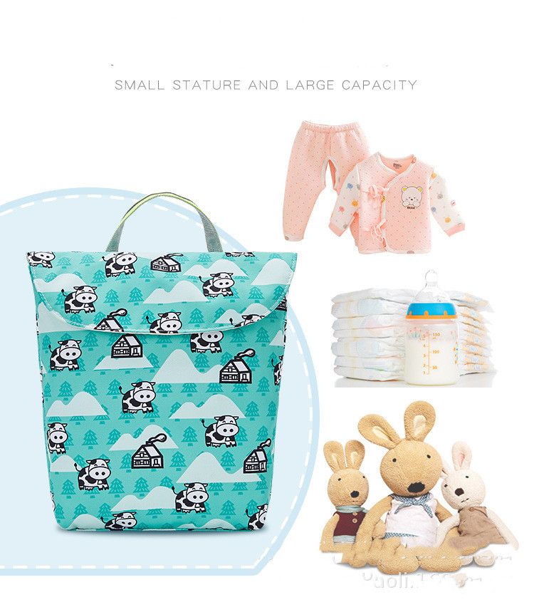 Multifunctional baby diaper storage bag waterproof and reusable fashion printing wet/dry cloth mommy travel storage bag diaper