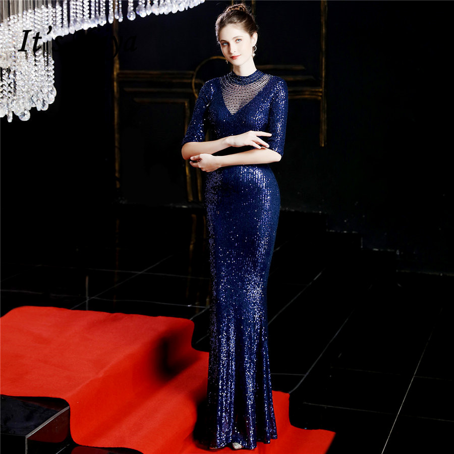 It's Yiiya Navy Blue Evening Dress Illusion Half Sleeve Special Occasion Dresses Cut-out Zipper Sequined Formal Gowns DX244