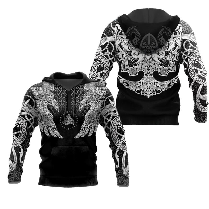 PLstar Cosmos crazy pattern warrior Viking Tattoo 3D Printed Men hoodies Harajuku Hooded Sweatshirt Autumn Fashion hoodie top-20