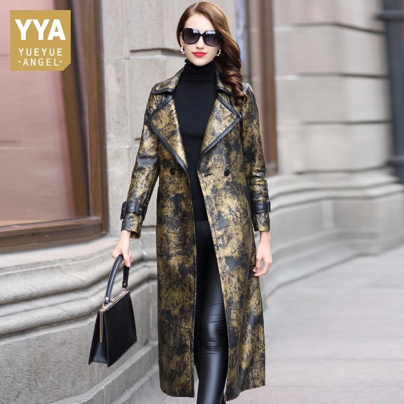 Winter Women Genuine Leather Coat High Quality OL Style Printed Sheepskin Coat Designer Slim Office Lady Belt Long Overcoat