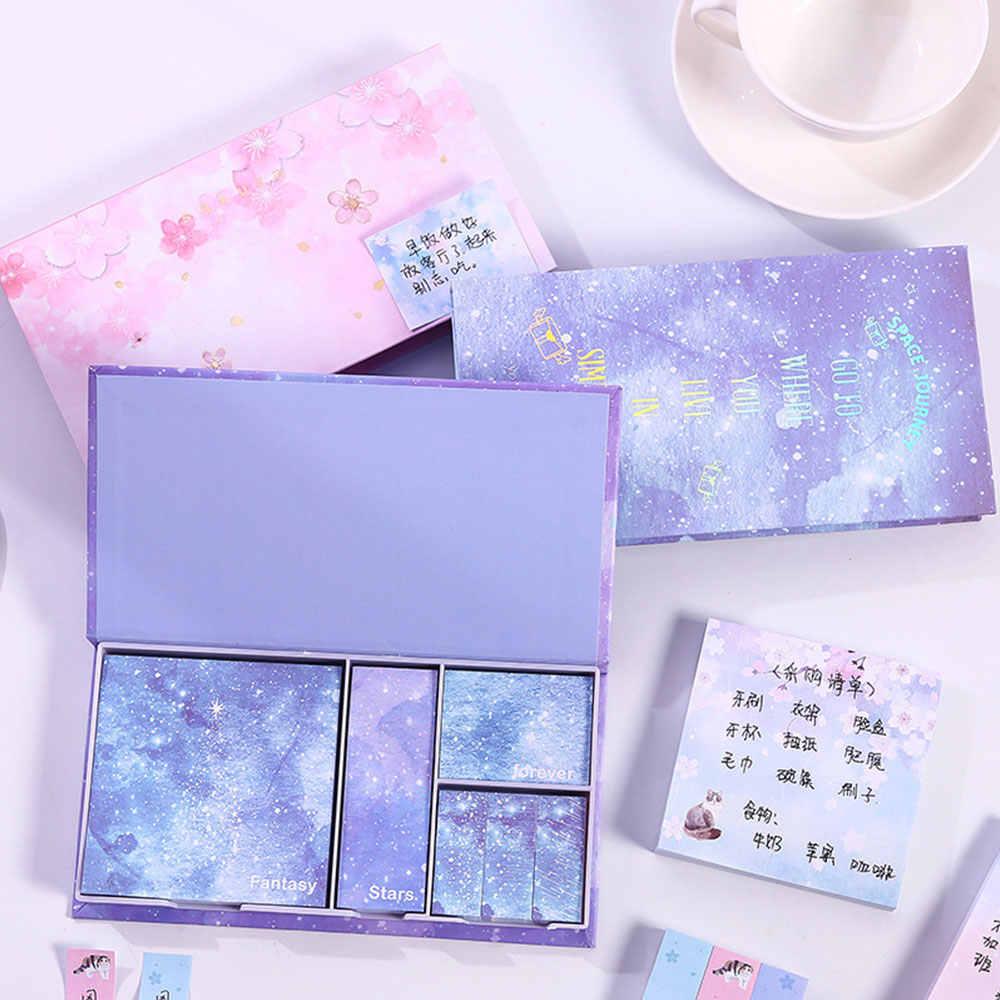 Offre spéciale cahier de Notes autocollantes coeur de fille petit livre ensemble d'autocollants étoiles Notes autocollantes en boîte