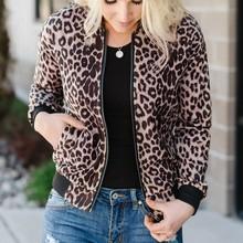 CHAMSGEND kurtki okazjonalne damskie 2020 wiosenna jesienna w stylu Basic Print Bomber płaszcz z suwakiem moda damska z długim rękawem wąska bluza tanie tanio Poliester REGULAR Coat O-neck zipper Pełna Szeroki zwężone Kieszenie Polyester Na co dzień Leopard woman jacket woman parkas