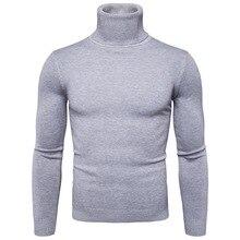 Зима теплая водолазка свитер мужчины мода однотонный вязаный мужские свитера 2020 повседневный мужской двойной воротник тонкий крой пуловер