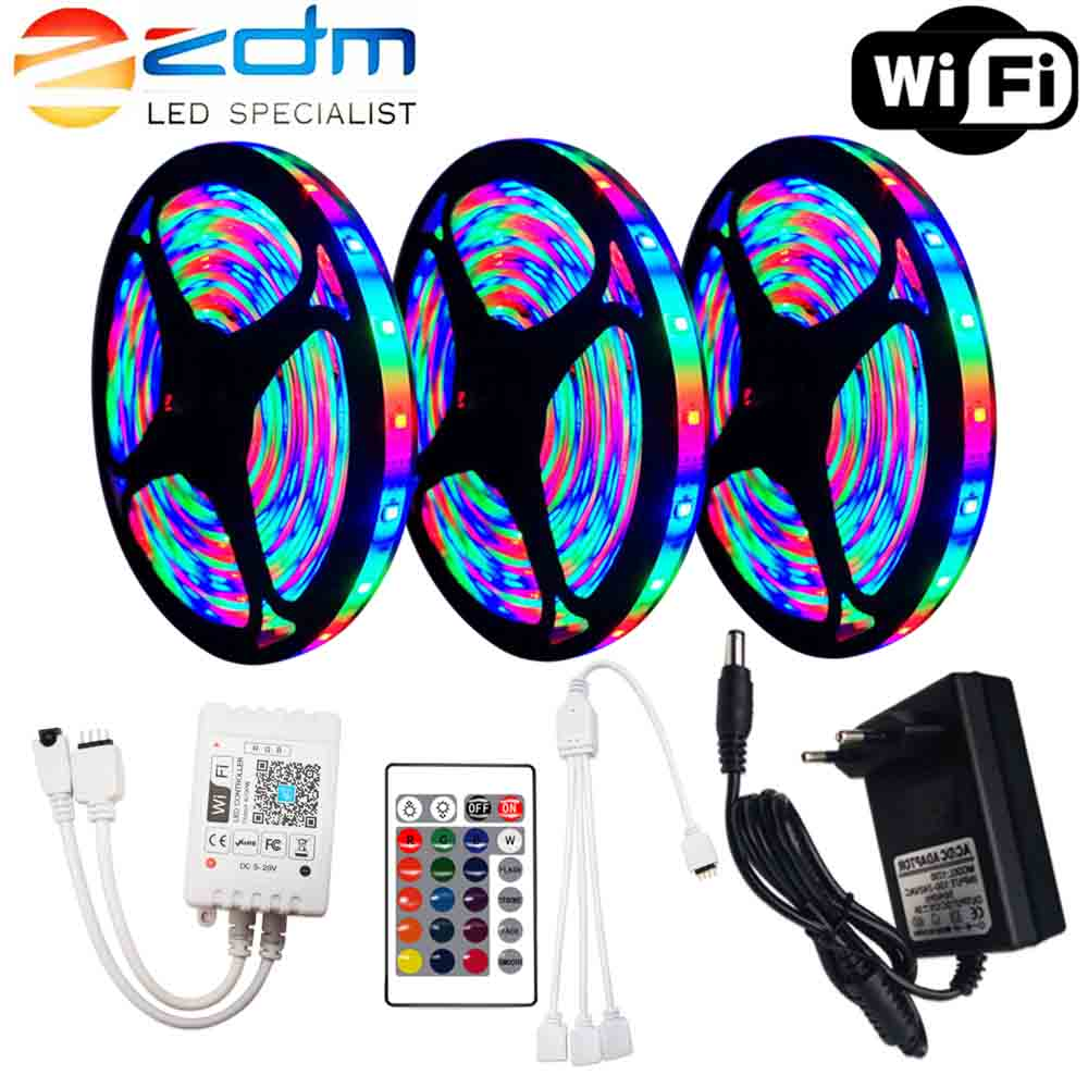 LED Strip 12V WIFI Ribbon LED Light Strip RGB Tape SMD 2835 Flexible 5M 10M 15M Tape With Remote Backlight For TV Waterproof