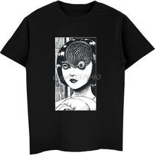 Summer Fashion Men Casual Tees Uzumaki Shirt Junji Ito Horror Manga Shirts Male Funny Cotton T Harajuku Streetwear