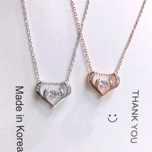 Exquisite Real 925 Sterling Silver Heart Mosaic Antlers Shape Pendant Necklaces Lasting Shine Chain Delicate Shaking Zirconia exquisite real 925 sterling silver charming pendant necklaces lasting shine chain delicate cube zirconia good looking wheel hub