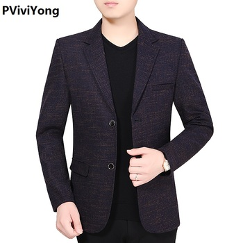 PViviYong 2019 New Fashion Men Slim high quality leisure Suit Blazer Jacket Two Button Lapel Casual Long Sleeve Pockets Top 1902