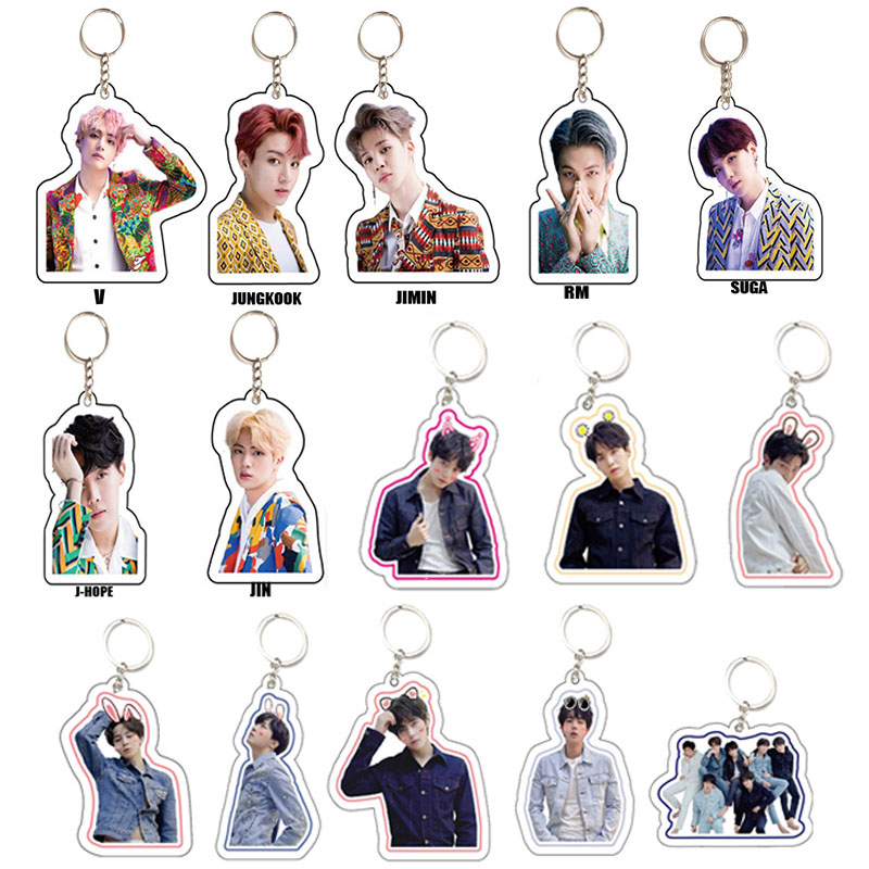 KPOP Bangtan Keychain Love Yourself Tear Album Chains Keyring Accessories Acrylic Key Ring Jewelry Gift For Fans Women Men