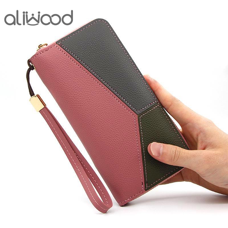 aliwood Brand Geometric Women Wallet Lady Patchwork Wallet Fashion PU Leather Long Zipper Purse Clutch Phone Pocket Card Holder