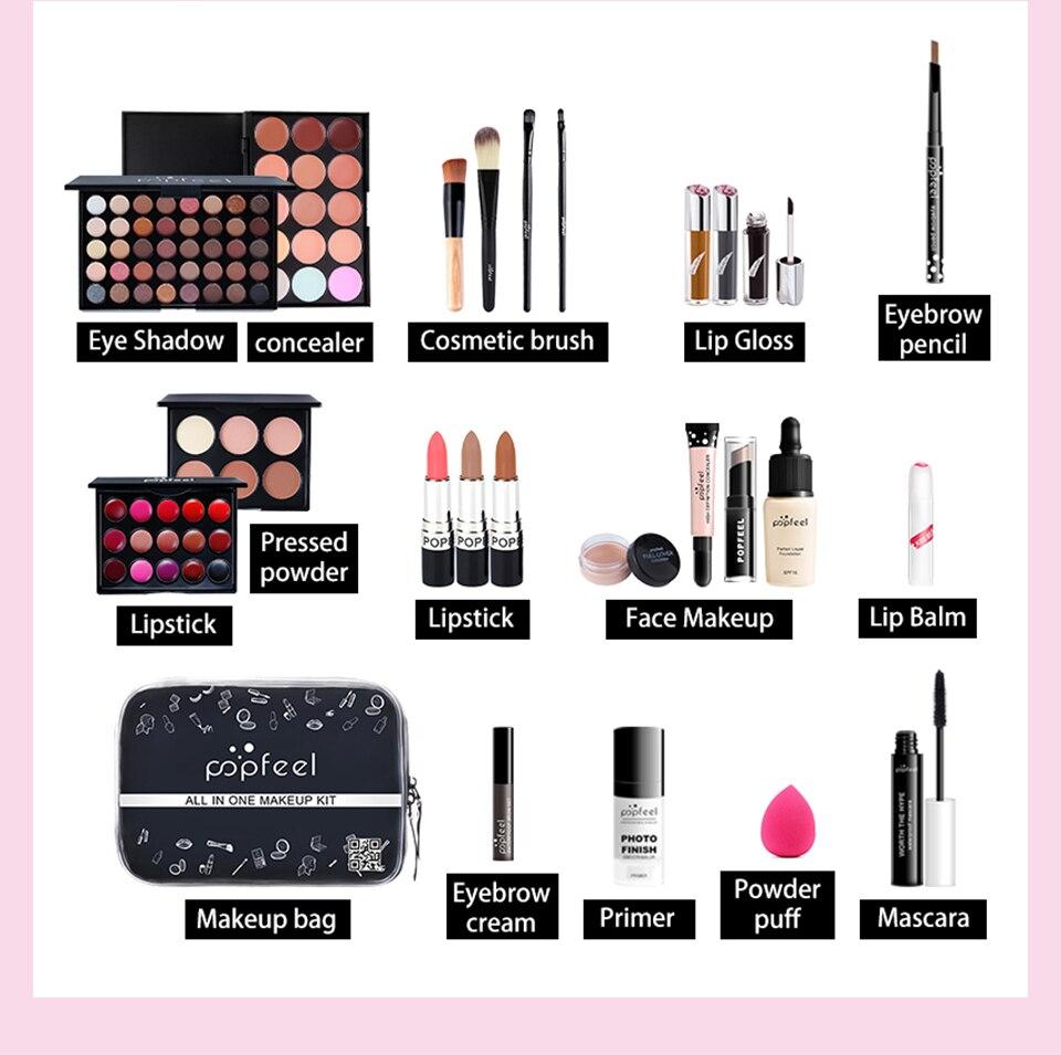 lipgloss batom maquiagem escovas corretivo sobrancelha com saco de maquiagem