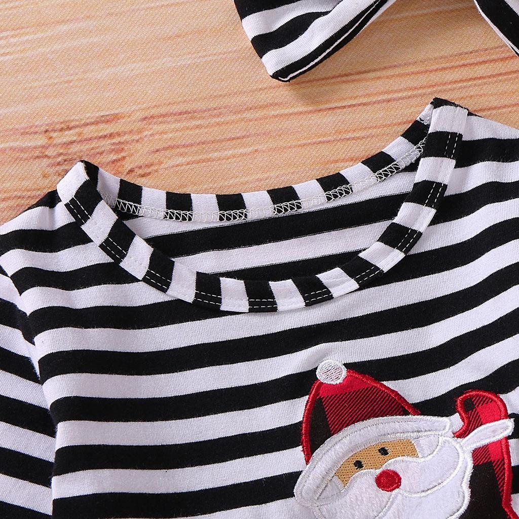 Toddler Girls Christmas Dress Santa Striped Print Tulle Dress+Headband Outfits Christmas Kids Dresses For Girls Vestido Infantil