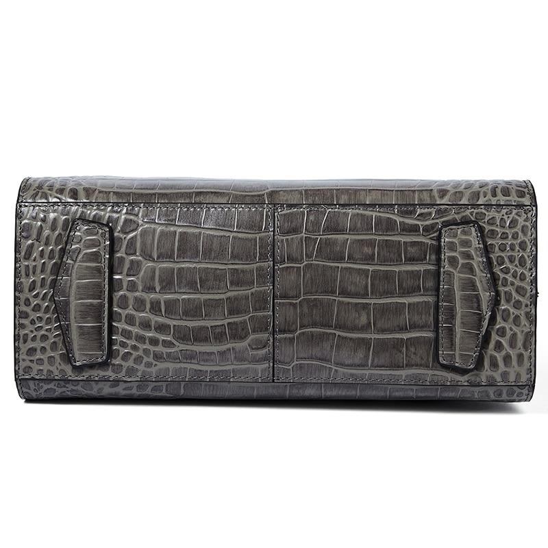 Маленькая Черная Сумочка для женщин, сумки на плечо из натуральной крокодиловой кожи Qiwang, роскошная дизайнерская сумочка, Офисная женская с... - 6