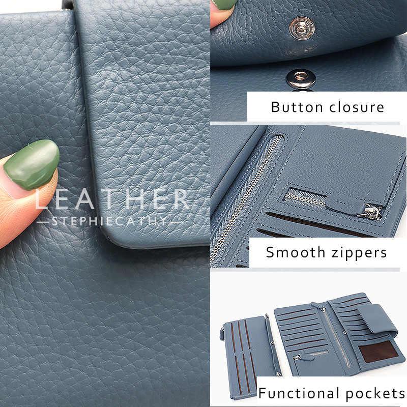 SC lüks hakiki deri uzun cüzdan kadın düğmesi fonksiyonlu kart sahipleri çok cepler deri çantalar ve debriyaj not bölmeleri