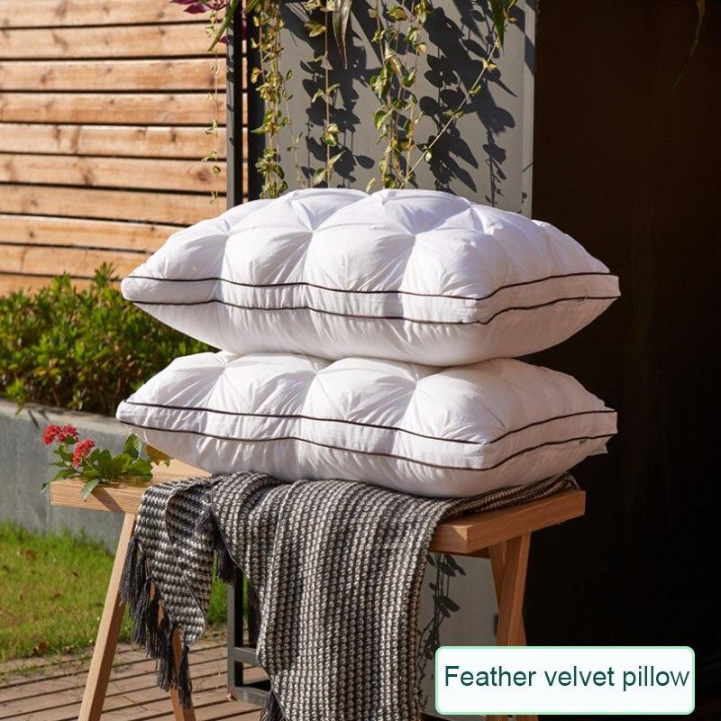 Подушка из пуха и перьев, супер мягкая подушка из белого утиного/гусиного пуха, стандартная Антибактериальная элегантная подушка из хлопка для домашнего декора|Подушки на кровать| | АлиЭкспресс