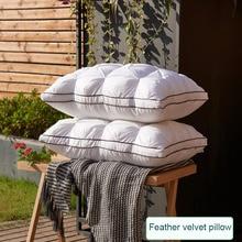 Подушка из пуха и перьев, супер мягкая подушка из белого утиного/гусиного пуха, стандартная Антибактериальная элегантная подушка из хлопка для домашнего декора