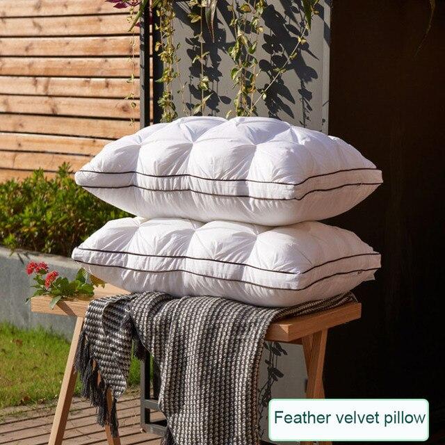 Down Feather Pillow Super soft White Duck/Goose Neck pillow Standard Antibacterial Elegant Home Textile Cotton Bedding Pillow