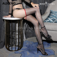 Seamed Oil Shinny Pantyhose Over-Need High-Stockings Transparent Nylon Thigh Sexy Long