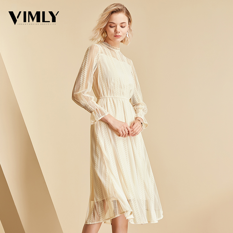 Vimly Elegant Mesh Lace Embroider Women Dress Stand-Neck Flare Sleeve Party Dresses Sexy Midi Elastic Waist Hollow Out Dress 5