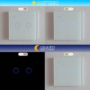 Image 4 - Przełącznik do montażu ściennego WIFI Touch czarne szkło Panel niebieski LED EU i UK uniwersalny inteligentny dom sterowane telefonem 2 Gang 2 Way 90 240V Square