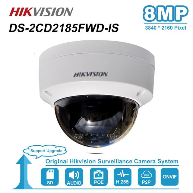 Hikvision 8MP قبة IP كاميرا PoE في الهواء الطلق مانعة IP67 CCTV الأمن مراقبة للرؤية الليلية IR 30M DS 2CD2185FWD IS