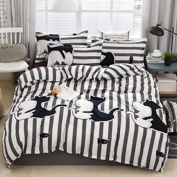 Black White Cat Geometric Pattern Bed Cover Set Duvet Cover Adult Child Bed Sheets And Pillowcases Comforter Bedding Set 61075 image