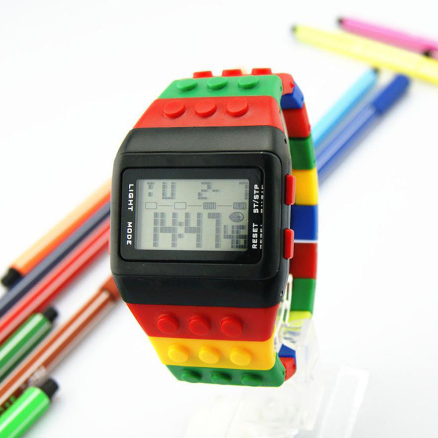 LED Digital Wrist Clock For Children Watches Boys Girls Unisex Colorful Electronic Sports Watch  For Lego Watch Buildinng