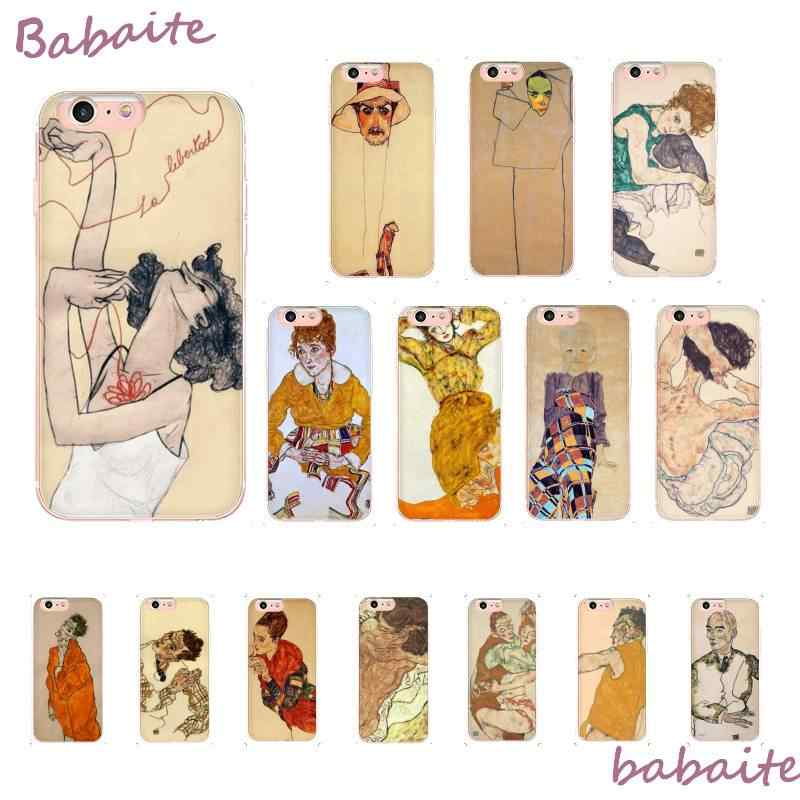 Babaite Egon Schiele TPU Lembut Silicone Ponsel Case untuk iPhone 8 7 6 6S Plus X XS Max 5 5S SE XR Coque Shell