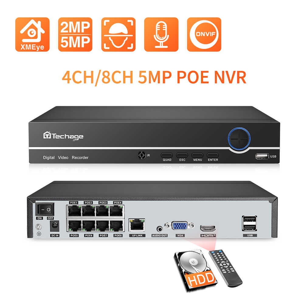 Techage H.265 4CH 8CH POE NVR güvenlik IP kamera video gözetim CCTV sistemi P2P ONVIF 2MP 5MP ağ Video kaydedici XMEYE