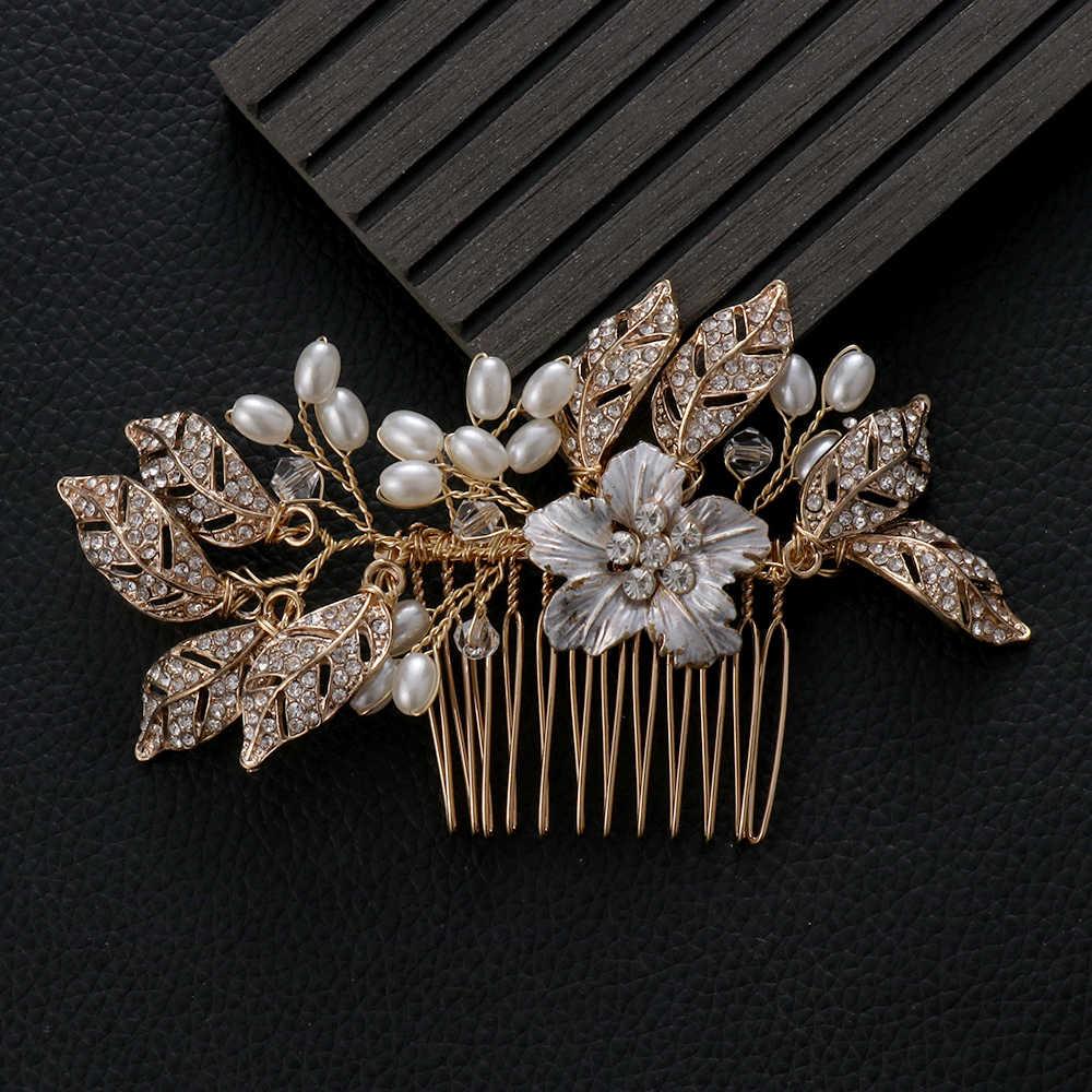 חתונת קריסטל פניני שיער קומבס כלה שיער קליפים עבור הכלה אביזרי תכשיטי עבודת יד נשים ראש קישוטים