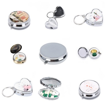 Metal Pill Box Tablet Holder Metal Round Medicine Case Small Case Tablet Pill Boxes Container