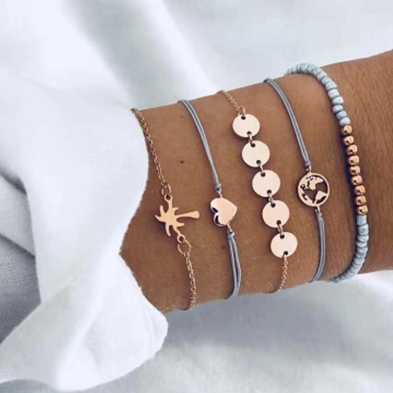 Tocona Bohemian Beads Chain Bracelets Bangles for Women Fashion Vintage Heart Compass Gold Color Chain Bracelets Sets Jewelry 5