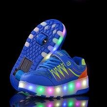 Детские кроссовки; детская обувь на роликах; обувь со светодиодной подсветкой; кроссовки с колесиками для девочек; Подарочная обувь для роликов