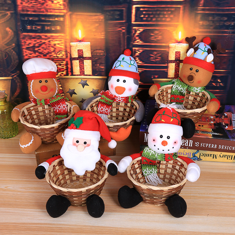 Merry Christmas Candy Storage Basket Decoration Santa Claus Storage Basket Products For Christmas Candy Container Hot Sale