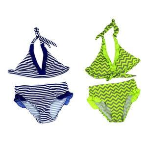 Kids Swimwear Bikini Girls New Hot HALTER Fashion Summer of Striped 1set