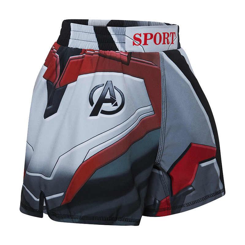Детские спортивные шорты для бега, шорты для занятий боксом, детские шорты для борьбы с кикбоксом, шорты для борьбы с животными, штаны с принтом