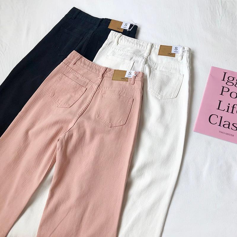 Autumn Pink Women Boyfriend Jeans High Waist Cotton Black White Korean Style Female Denim Pants Wide Leg Jeans
