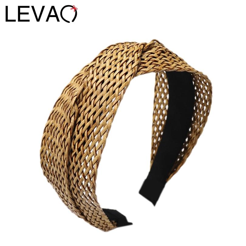 LEVAO-bandeau de cheveux grande taille   Couleur unie, tissé à la main, bandeau, mode, lunette, Turban, femmes filles, accessoires de cheveux, vente en gros