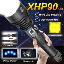 Super Powerful Xlamp XHP90 LED Flashlight LED Torch USB Charging Lamp Zoom Tactical Torch 18650 26650 Rechargeable Battey