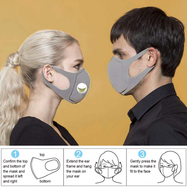 2Pcs/Lot Fashion Sponge Dust Masks - Respirator Mask with Breath Valve Dust Face Mouth Mask Breathable for Men Women 3