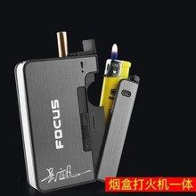 Automatic Cigarette Case Portable Business Women Men Cigarette Boxes Lighter Can