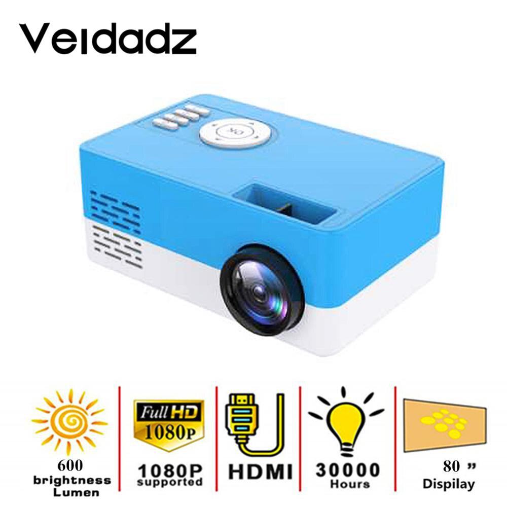 VEIDADZ New J16 LED Mini Projector Home 1080P Full HD HDMI-Compatible USB Audio Portable Media Video Player