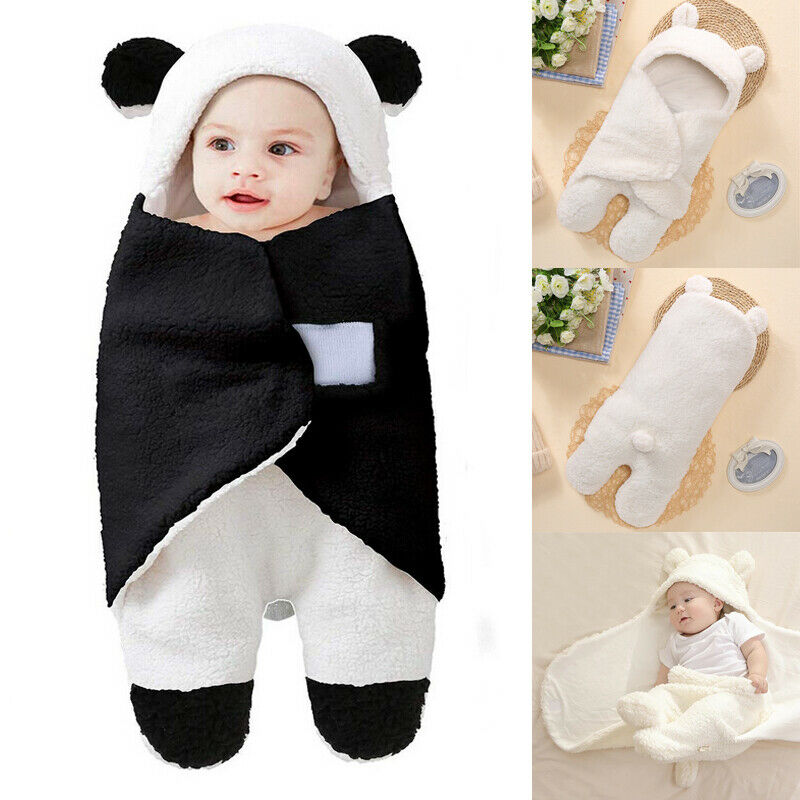 Cute Cartoon Baby Hooded Wrap Blanket Newborn Infant Fleece Swaddle Winter Warm Lovely Teddy Bear Toddler Sleeping Bag With Ear
