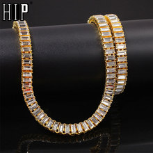 Hip Hop 9.6MM Bling Iced Out Full Rhinestone Necklace Geometric AAA CZ Stone Chain Necklaces For Men Jewelry