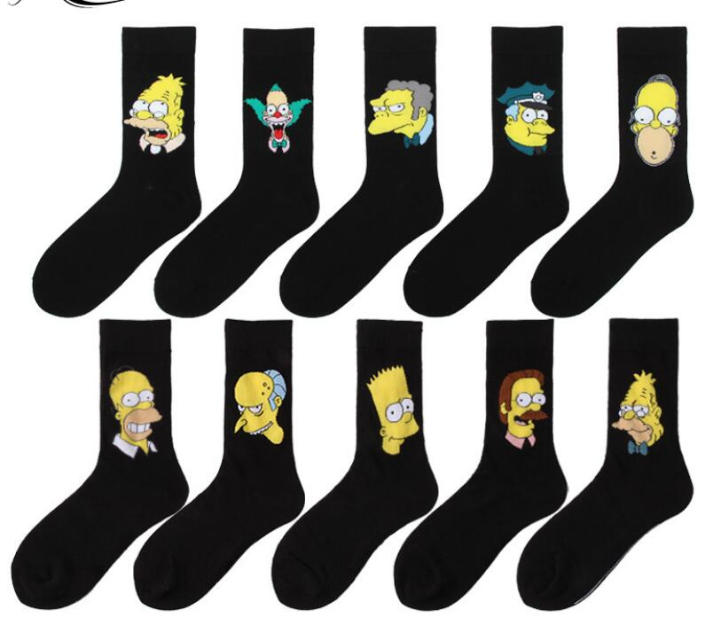 Personality Cotton Socks Cute Socks Men Women College Skate Socks Hip Hop Crew  Dress Fashion Mens Socks Comic Cartoon BLACK