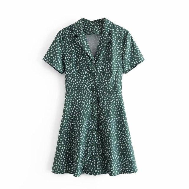 Palace Short Sleeve Women Dress Elegant Turn Down Collar Dresses Vintage Floral Print Mini Vestidos 3