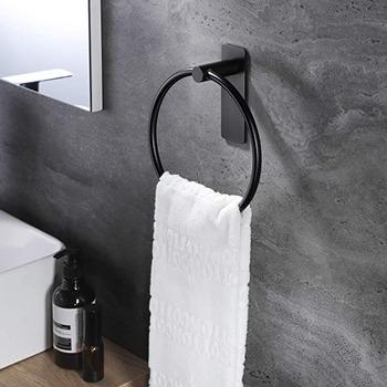 Uchwyt na ręczniki ze stali nierdzewnej dziurkacz stalowy darmowe akcesoria łazienkowe wieszak na ręczniki wieszak na ręczniki wieszak na ręczniki kuchenne silne okrągłe okrągły wieszak na ręcznik tanie i dobre opinie CN (pochodzenie) Towel Rings Dropshipping Wire drawing 304 stainless steel 10kg Non Perforated Anti-rust Strong Bearing Capacity