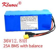 Kluosi 36v 10s4p 12.8ah 18650mh1 42v bateria de lítio 25a bms 250w bms 750w energia solar de backup carro elétrico bicicleta motor scoote